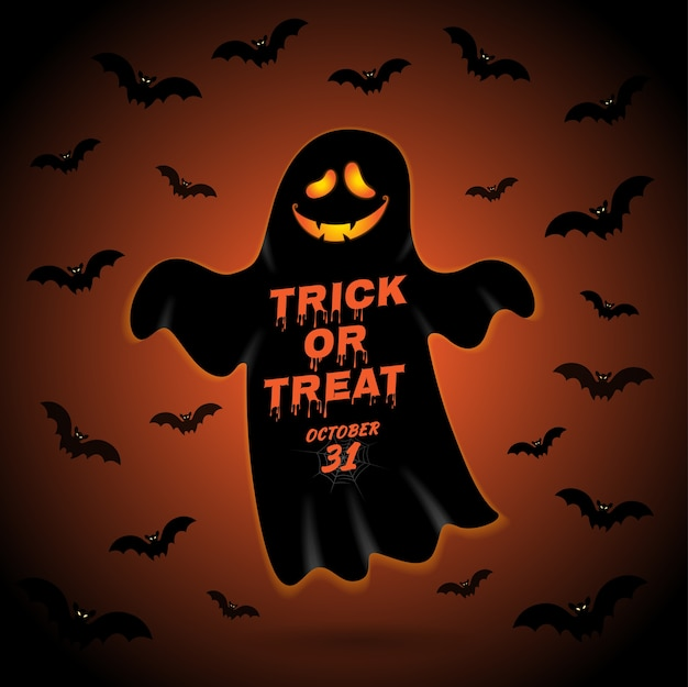 Happy halloween party trick or treat spook en vleermuizen