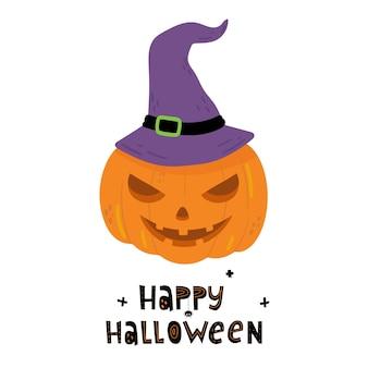 Happy halloween pompoen in hoed doodle stijl vector hand getekende illustratie