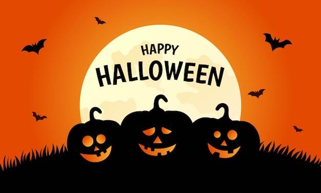 Happy halloween-pompoenen op oranje achtergrond
