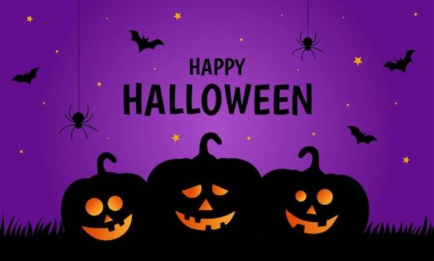 Happy halloween-pompoenen op paarse achtergrond