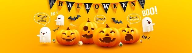 Happy halloween-poster en sjabloon voor spandoek met schattige halloween-pompoen