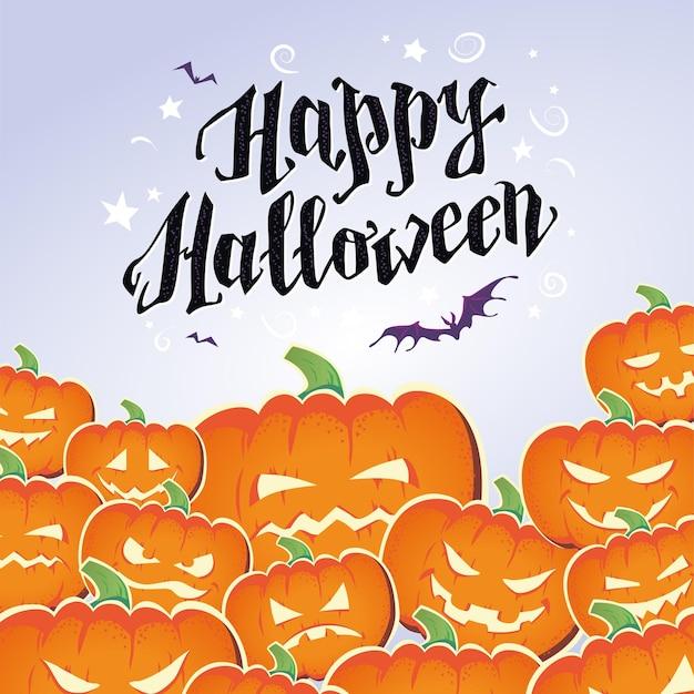 Happy halloween poster, kaart, banner ontwerpsjabloon. pompoenen, tekst felicitatie, vleermuizen vliegen. vector platte cartoon afbeelding voor plakkaat, uitnodiging voor feest, verpakking, web.