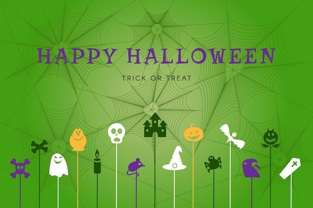 Happy halloween poster met traditionele herfstvakantie symbolen op spinnenweb achtergrond. webbanner voor feest, decoratie of winkelverkoop. vector illustratie