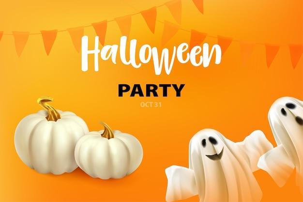 Happy halloween poster of kaart met ghost witte pompoenen ghost op oranje achtergrond met halloween p...