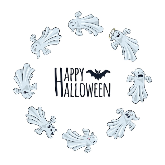 Happy halloween ronde frame met schattige spoken. cartoonstijl. herfstvakantie ontwerp voor banners, posters, uitnodigingen. grappige spooks kaartsjabloon in cirkelvorm. premium vector