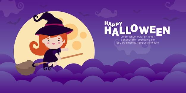 Happy halloween schattige kleine heks vliegt op een bezem in de nachtelijke hemel tegen de achtergrond