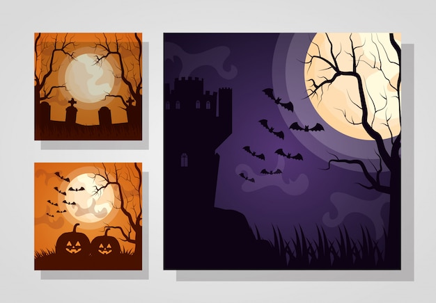 Happy halloween set donkere kaarten