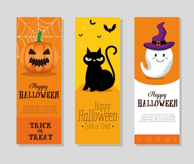 Happy halloween set kaarten of banner set