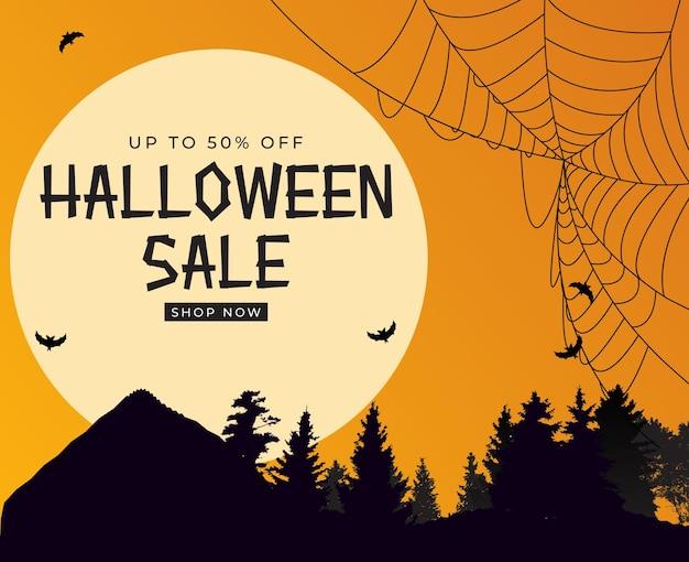 Happy halloween shop now poster sjabloon op oranje achtergrond met vleermuis en spin