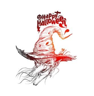 Happy halloween silhouetten van heksen, hand getrokken schets vectorillustratie.