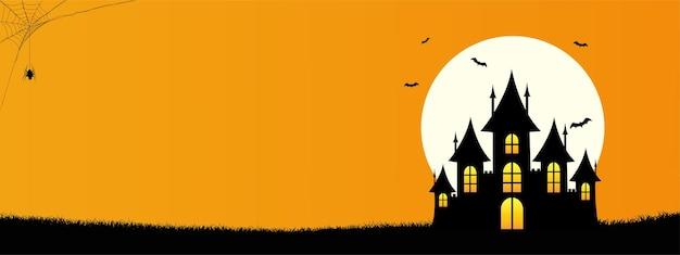 Happy halloween-sjabloonbanner op oranje achtergrond met de kasteelvleermuiswebspin en volle maan
