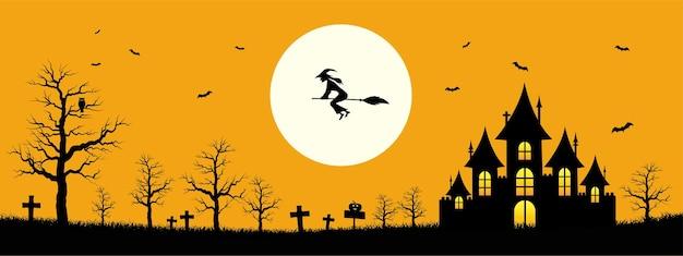 Happy halloween-sjabloonbanner op oranje kleurachtergrond