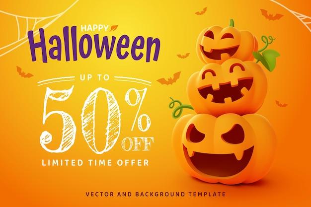 Happy halloween, smilling jack-o'-lantern pompoen op oranje achtergrond, vector eps10.