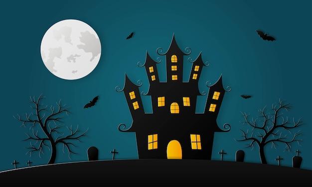 Happy halloween spookhuis en volle maan papier kunststijl op blauwe achtergrond Premium Vector