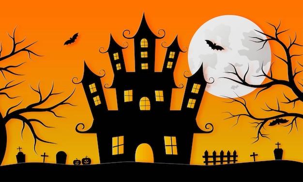 Happy halloween spookhuis en volle maan papier kunststijl op oranje achtergrond