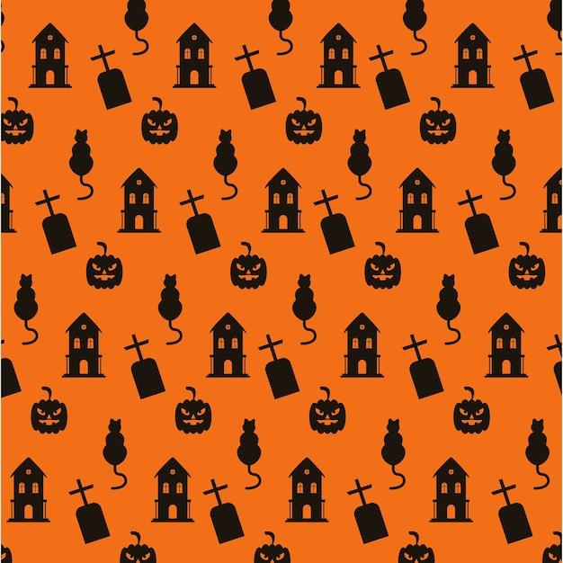Happy halloween spookhuizen en kerkhoven met kattenpatroon.
