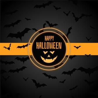 Happy halloween stijlvolle achtergrond met veel vleermuizen