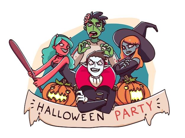 Happy halloween teken van oktober vakantie horror nacht feest. vectorillustratie