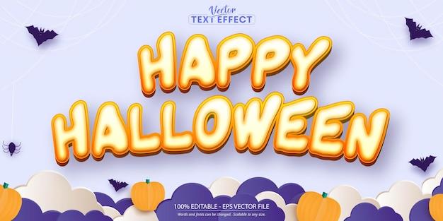 Happy halloween-tekst, bewerkbaar teksteffect in cartoonstijl op lichtpaarse achtergrond