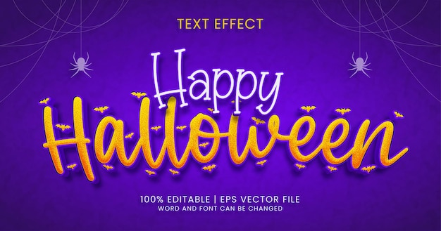 Happy halloween-tekst, getextureerde bewerkbare teksteffectstijl