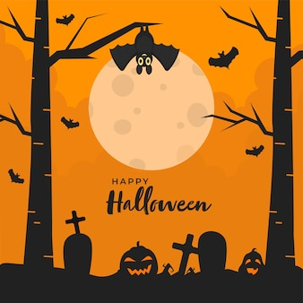 Happy halloween-tekst met hefboom-o-lantaarns