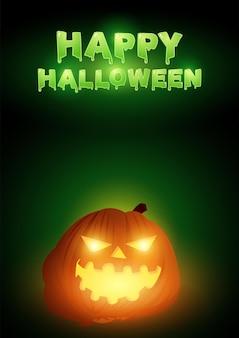 Happy halloween-tekst met jack o lantern als decoratie, vectorillustratie eps 10