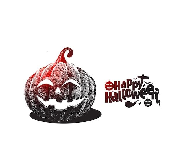 Happy halloween-tekst met pompoen hand getrokken schets vector design.