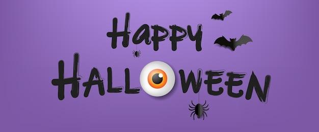 Happy halloween-tekst met violette achtergrond