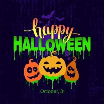 Happy halloween-tekstbanner met pompoenen en vleermuizen Premium Vector