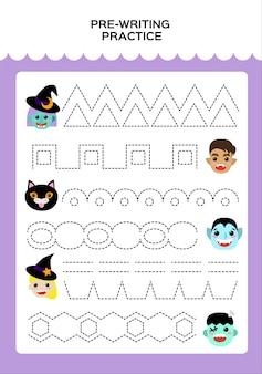 Happy halloween trace game voor kinderen met monsters. . onderwijsspel voor kinderen. supermotorische vaardigheden. werkblad traceren. vector