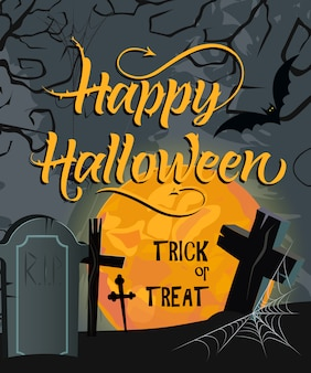 Happy halloween, trick or treat belettering met maan en begraafplaats