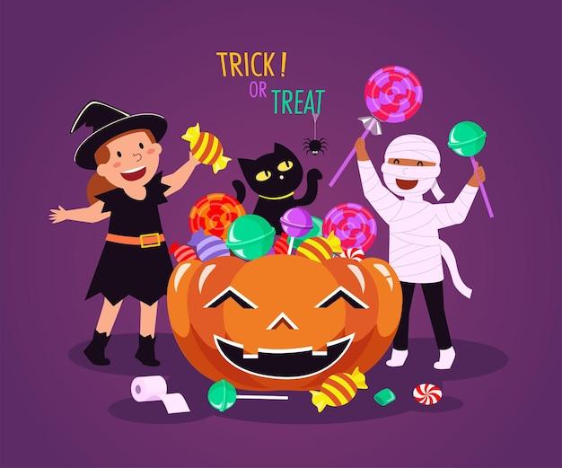 Happy halloween (trick or treat) illustratie