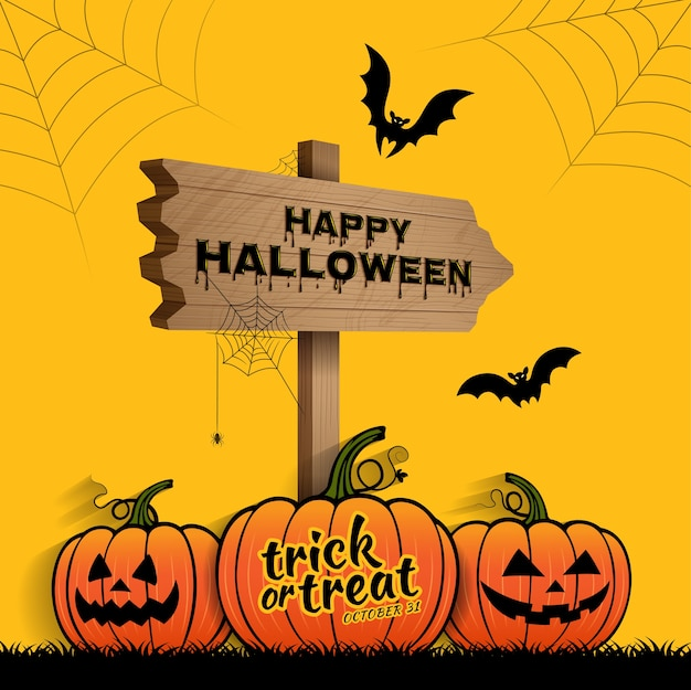 Happy halloween trick or treat pompoenen