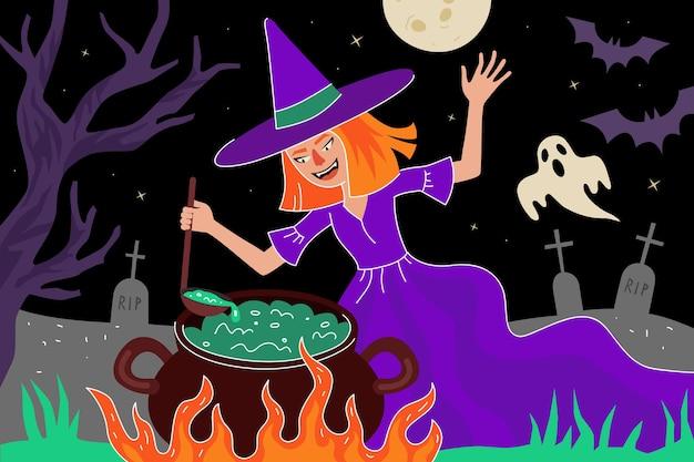 Happy halloween-vakantiewenskaart heks brouwt toverdrank in ketel op maanlichtbegraafplaats
