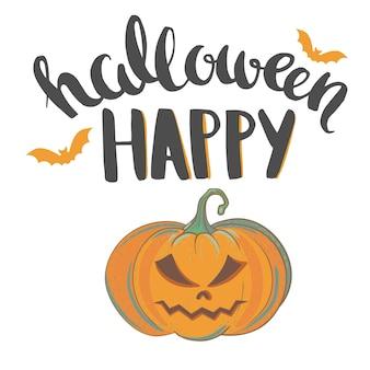 Happy halloween vector wenskaart voor halloween met handgetekende letters en gesneden pompoen