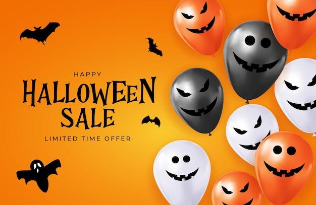 Happy halloween-verkoop kerstkaart met grappige ballonnen. vectorillustratie