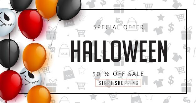 Happy halloween verkoop promotie reclame banner sjabloon decor met ballonnen ontwerp. voucher korting.
