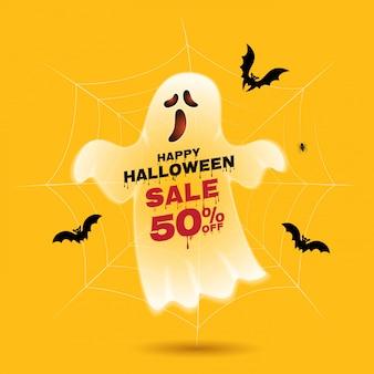 Happy halloween-verkoop trick or treat geest en vleermuizen