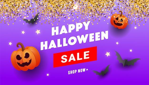 Happy halloween-verkoopbanner met oranje pompoenen, spookballen, goud glitter serpentine