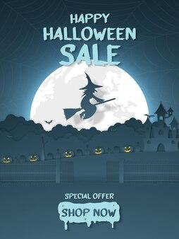 Happy halloween-verkoopbanner pompoen hoofdwitch die boven de wolk vliegt met kasteelkerkhof op de heuvel