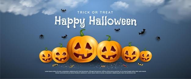 Happy halloween verticale banner met pompoenspin en vleermuizen