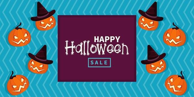 Happy halloween-vieringskaart met pompoenen en belettering