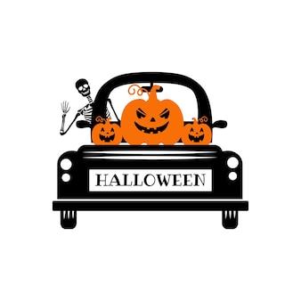 Happy halloween vrachtwagen svg vector halloween pompoen vrachtwagen halloween vrachtwagen met pompoen gezicht