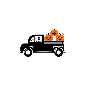 Happy halloween vrachtwagen svg vector halloween pompoen vrachtwagen halloween vrachtwagen met pompoen