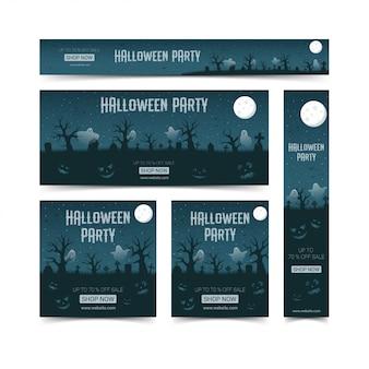 Happy halloween webbanners ontwerpsjabloon set