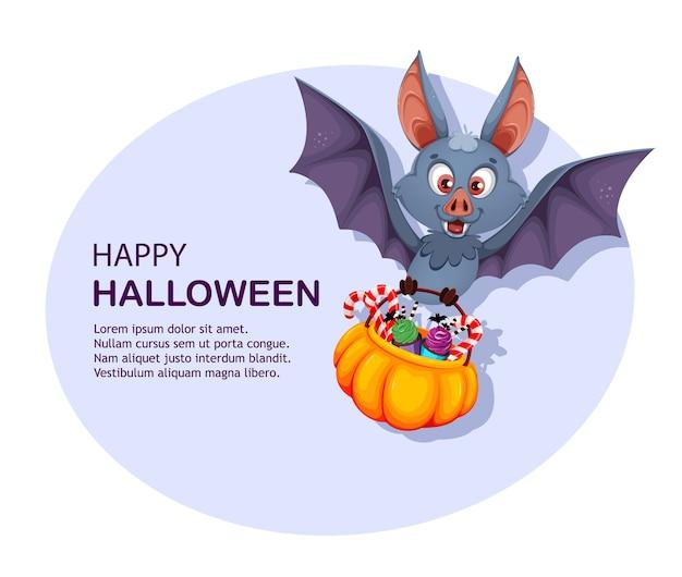 Happy halloween wenskaart. grappige vleermuis