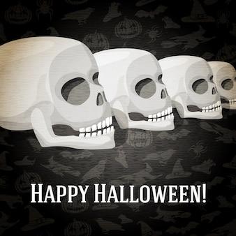 Happy halloween-wenskaart met menselijke schedels die naar het perspectief vervagen. op de donkere achtergrond van halloween met vleermuizen, heksen, hoeden, spinnen, pompoenen.