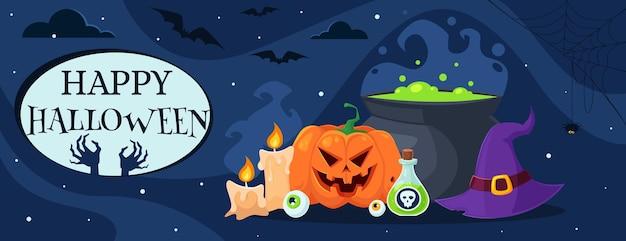 Happy halloween-wenskaart met pompoenpot-heksenhoed-drankkaarsen