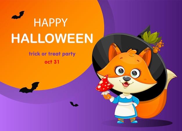 Happy halloween-wenskaart met schattige foxy heks grappige heks vos met vliegenzwam