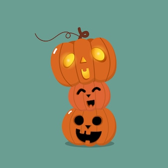 Happy halloween-wenskaart met schattige oranje pompoen
